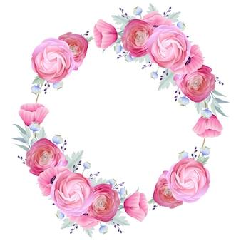 Fondo de marco con ranúnculos florales y flores de amapola
