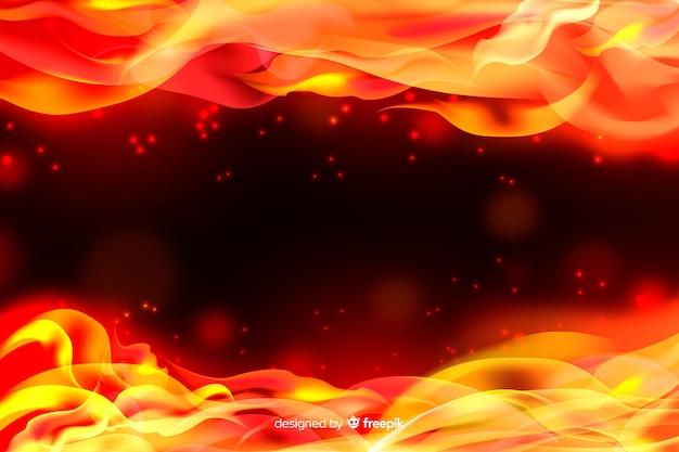 Fondo de marco realista de llamas