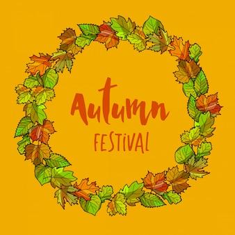Fondo de marco redondo otoñal o caída. guirnalda de hojas de otoño