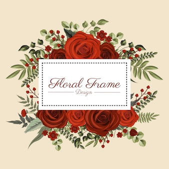 Fondo de marco de rosas rojas