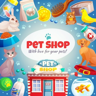 Fondo de marco de tienda de mascotas