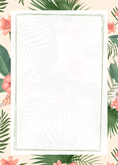 Fondo de marco tropical en blanco