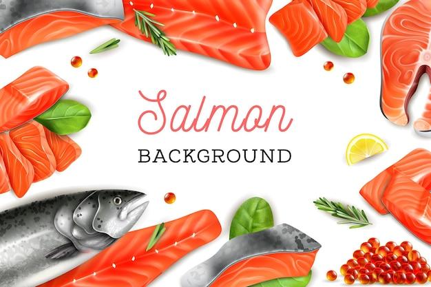 Fondo de marco con trozos de salmón, rodajas de limón, ramita de romero y caviar rojo