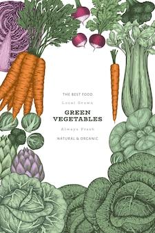 Fondo de marco de verduras de color vintage dibujado a mano