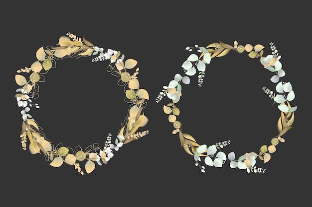 Fondo de marcos florales de guirnalda dorada