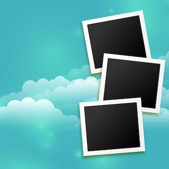 Fondo de marcos de fotos con nubes
