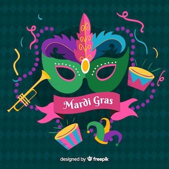 Fondo de mardi gras carnaval dibujado a mano