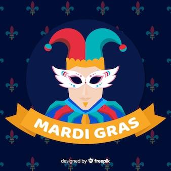 Fondo de mardi gras carnaval en diseño plano