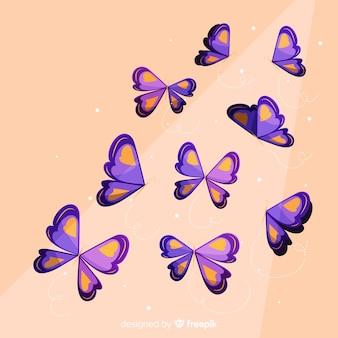 Fondo mariposas planas volando