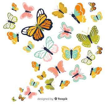 Fondo mariposas planas