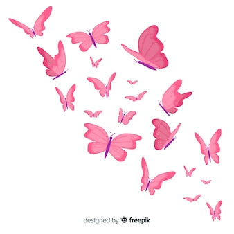 Fondo de mariposas volando en diseño plano