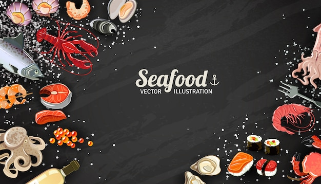 Fondo de mariscos con langostinos de pescado y sushi delicadeza ilustración