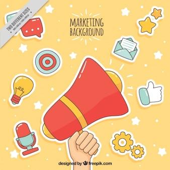 Fondo de marketing colorido con artículos dibujados a mano