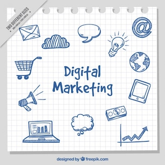 Fondo de marketing con conceptos digitales dibujados a mano