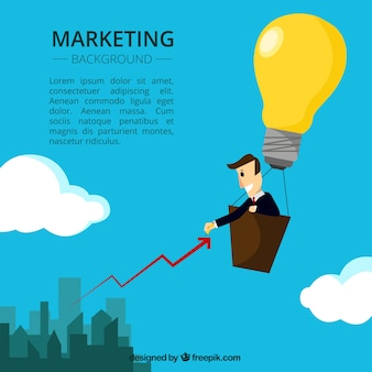 Fondo de marketing creativo con hombre de negocios