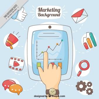 Fondo de marketing dibujado a mano con tableta