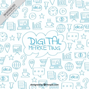 Fondo de marketing digital con garabatos azules