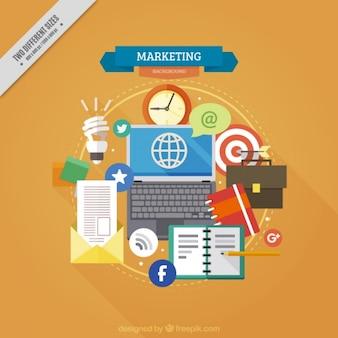 Fondo de marketing con herramientas e iconos