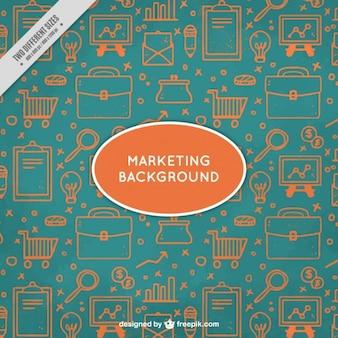 Fondo de marketing verde y naranja con elementos dibujados a mano