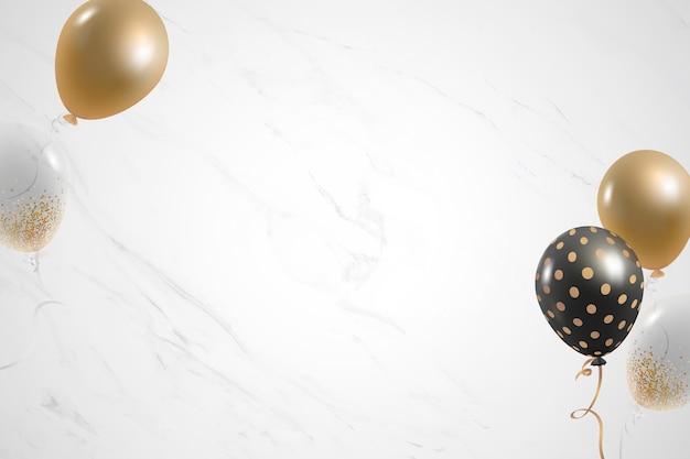 Fondo de mármol blanco festivo de globos dorados