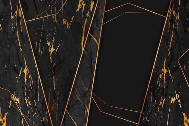 Fondo de mármol geométrico negro y dorado.