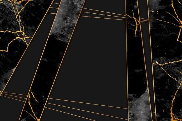 Fondo de mármol de líneas negras y doradas