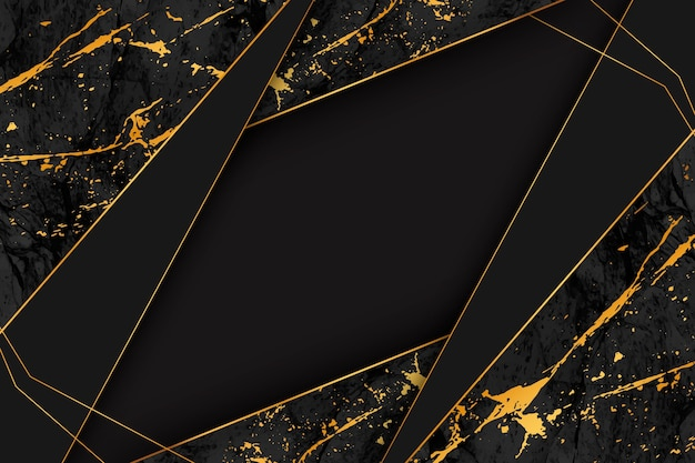 Fondo de mármol negro y dorado