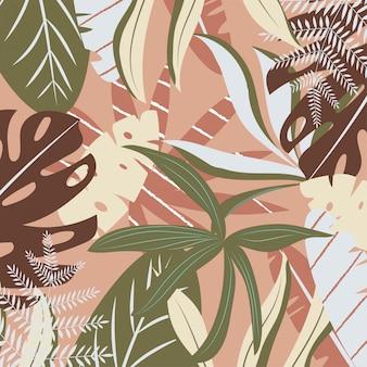 Fondo marrón con hojas tropicales.