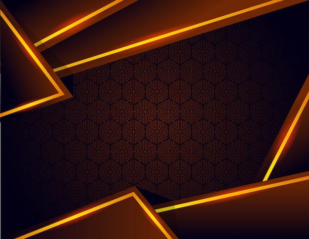 Fondo marrón negro degradado con formas geométricas doradas oscuras de lujo