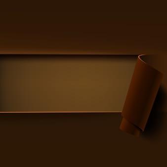 Fondo marrón con papel enrollado.