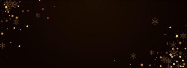 Fondo marrón de pnoramic del vector de la nieve brillante. invitación de estrellas festivas de oro. telón de fondo de copos de invierno. fondo de pantalla de tormenta de nieve de navidad.