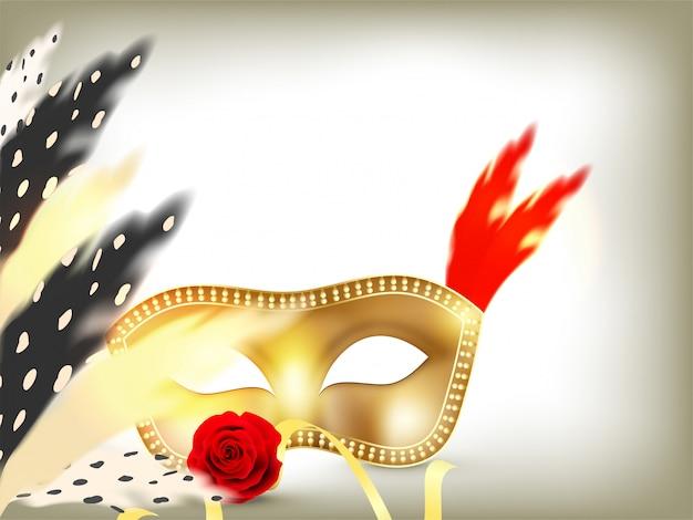 Fondo de máscara de fiesta dorada
