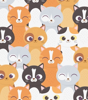 Fondo mascota gatos personajes de dibujos animados animal doméstico ilustración