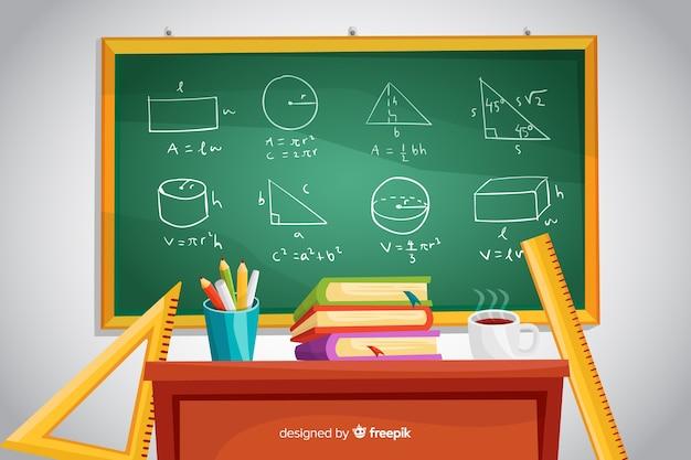 Fondo de matemáticas de dibujos animados con pizarra