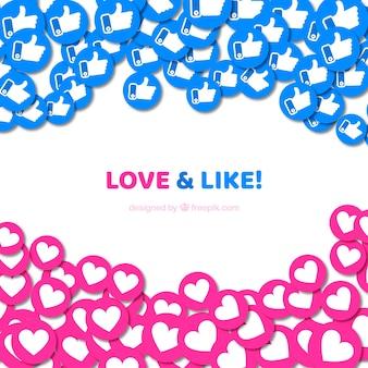 Fondo de me gusta y corazones de facebook