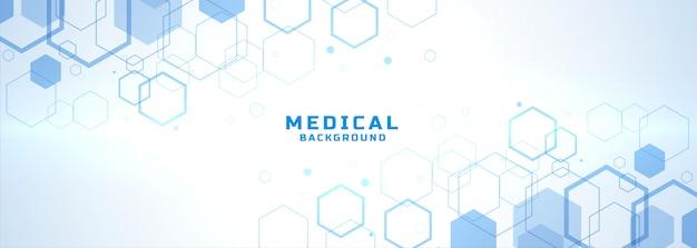 Fondo médico abstracto con formas de estructura hexagonal