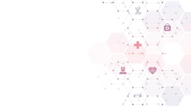 Fondo médico abstracto con iconos y símbolos planos