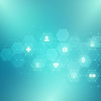 Fondo médico abstracto con iconos y símbolos. plantilla con concepto e idea para tecnología sanitaria, medicina de innovación, salud, ciencia e investigación.