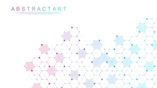 Fondo médico abstracto investigación de adn, molécula, genética, genoma, cadena de adn. concepto de arte de análisis genético con hexágonos, ondas, líneas, puntos. molécula de concepto de red de biotecnología.
