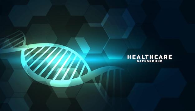 Fondo médico de adn con formas hexagonales brillantes