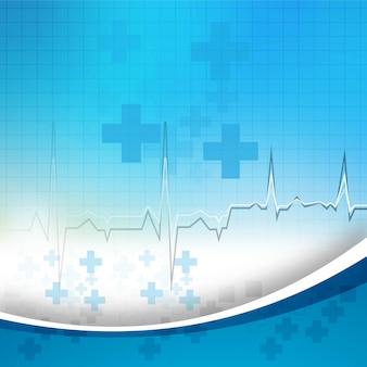 Fondo médico azul abstracto con vector de onda