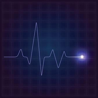 Fondo médico azul de la atención sanitaria con el cardiograma de neón del corazón.