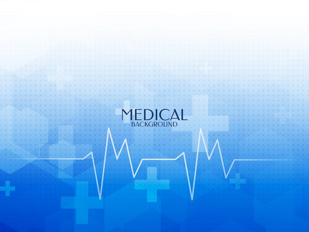 Fondo médico de color azul abstracto con línea de latido del corazón