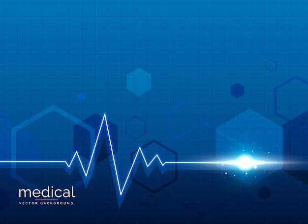 Fondo médico de atención médica con línea de latido del corazón