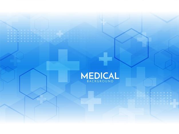 Fondo médico y farmacéutico de formas hexagonales de color azul