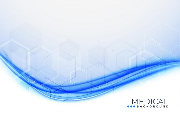 Fondo médico con forma ondulada azul
