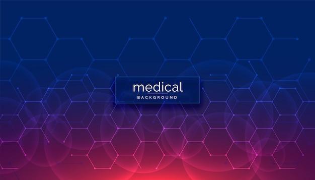 Fondo médico sanitario con formas hexagonales.