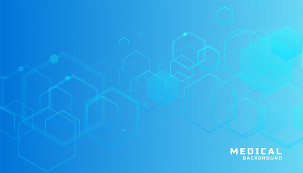 Fondo médico y sanitario hexagonal azul