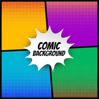 Fondo de medio tono cómico en diferentes colores.
