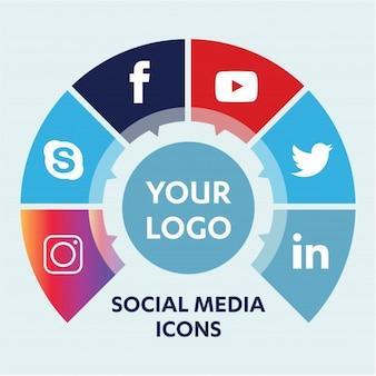 Fondo de los medios sociales con los objetos grupo de elementos